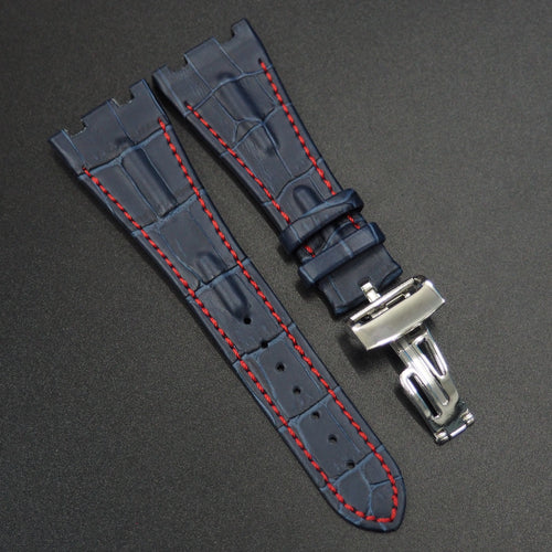 Deep Blue Alligator-Embossed Calf Leather Watch Strap w/ Deployment Clasp For Audemars Piguet Royal Oak Offshore - Strapholic_錶帶工房, Rolex, IWC, Panerai, AP, Cartier, Tudor, Omega, Watch_Bands