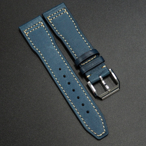 Yale Blue Calf Leather Watch Strap - Strapconcept_錶帶工房, Rolex_Leather, IWC_Strap, Panerai_Strap, AP_Rubber, Cartier_Leather, Tudor_Nato, Omega_Rubber, Watch_Straps