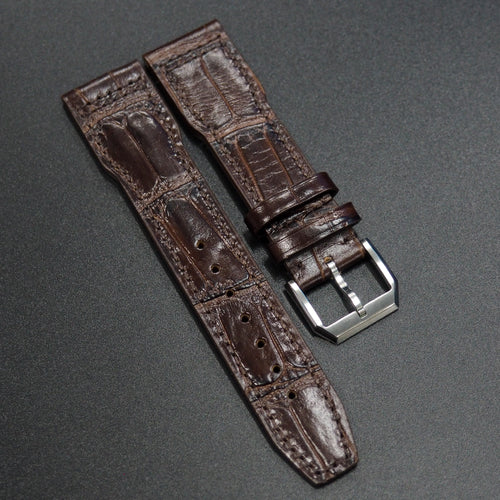 Brown Alligator-Embossed Calf Leather Watch Strap - Strapconcept_錶帶工房, Rolex_Leather, IWC_Strap, Panerai_Strap, AP_Rubber, Cartier_Leather, Tudor_Nato, Omega_Rubber, Watch_Straps