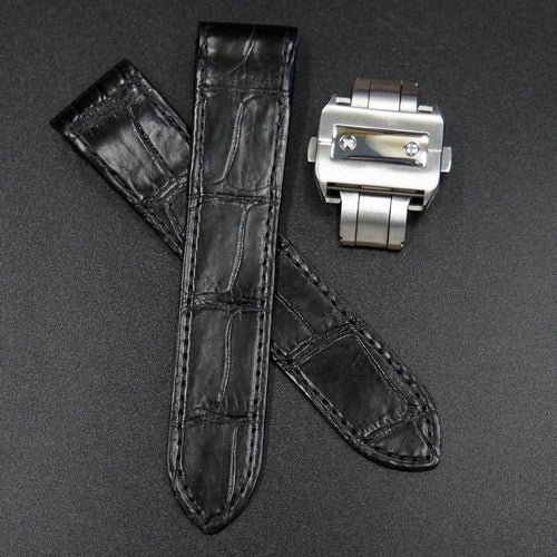 Premium Black Alligator Leather Watch Strap w/ Deployment Clasp For Cartier Santos 100 XL - Strapholic_錶帶工房, Rolex, IWC, Panerai, AP, Cartier, Tudor, Omega, Watch_Bands