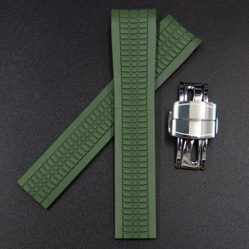 Premium Green Rubber Watch Strap w/ Deployment Clasp For Patek Philippe Aquanaut 5167 - Strapholic_錶帶工房, Rolex, IWC, Panerai, AP, Cartier, Tudor, Omega, Watch_Bands