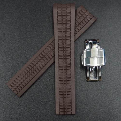 Premium Brown Rubber Watch Strap w/ Deployment Clasp For Patek Philippe Aquanaut 5167 - Strapholic_錶帶工房, Rolex, IWC, Panerai, AP, Cartier, Tudor, Omega, Watch_Bands