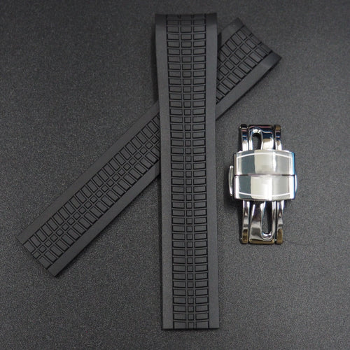 Premium Black Rubber Watch Strap w/ Deployment Clasp For Patek Philippe Aquanaut 5167 - Strapholic_錶帶工房, Rolex, IWC, Panerai, AP, Cartier, Tudor, Omega, Watch_Bands