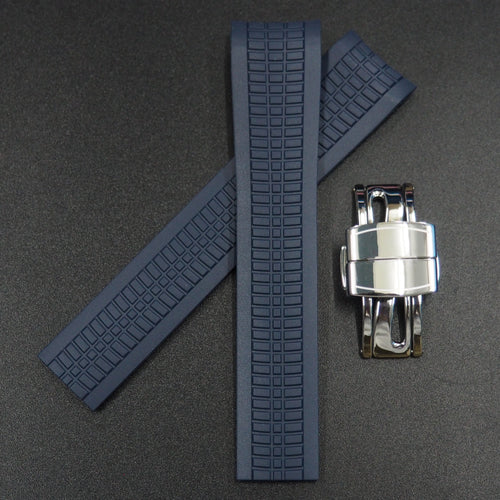 Premium Navy Blue Rubber Watch Strap w/ Deployment Clasp For Patek Philippe Aquanaut 5167 - Strapholic_錶帶工房, Rolex, IWC, Panerai, AP, Cartier, Tudor, Omega, Watch_Bands