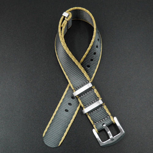 Gray / Yellow Nato Style High Quality Nylon Watch Strap - Strapholic_錶帶工房, Rolex, IWC, Panerai, AP, Cartier, Tudor, Omega, Watch_Bands