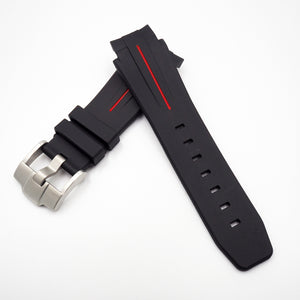 21mm Black w/ Red Line Rubber Watch Strap With Curved Ends For Rolex Deepsea - Strapholic_錶帶工房, Rolex, IWC, Panerai, AP, Cartier, Tudor, Omega, Watch_Bands