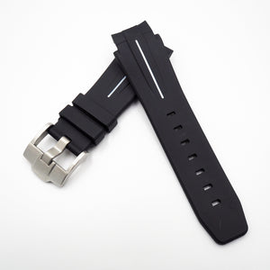 21mm Black w/ White Line Rubber Watch Strap With Curved Ends For Rolex Deepsea - Strapholic_錶帶工房, Rolex, IWC, Panerai, AP, Cartier, Tudor, Omega, Watch_Bands