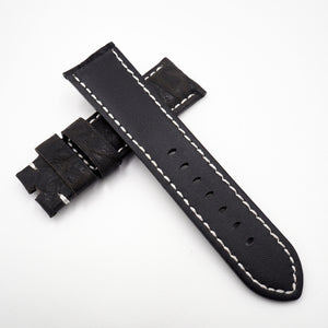 24mm Black Marble Embossed Calf Leather Watch Strap w/ Buckle For Panerai - Strapholic_錶帶工房, Rolex, IWC, Panerai, AP, Cartier, Tudor, Omega, Watch_Bands