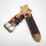 24mm Brown / Black Calf Leather Watch Strap w/ Buckle For Panerai - Strapholic_錶帶工房, Rolex, IWC, Panerai, AP, Cartier, Tudor, Omega, Watch_Bands
