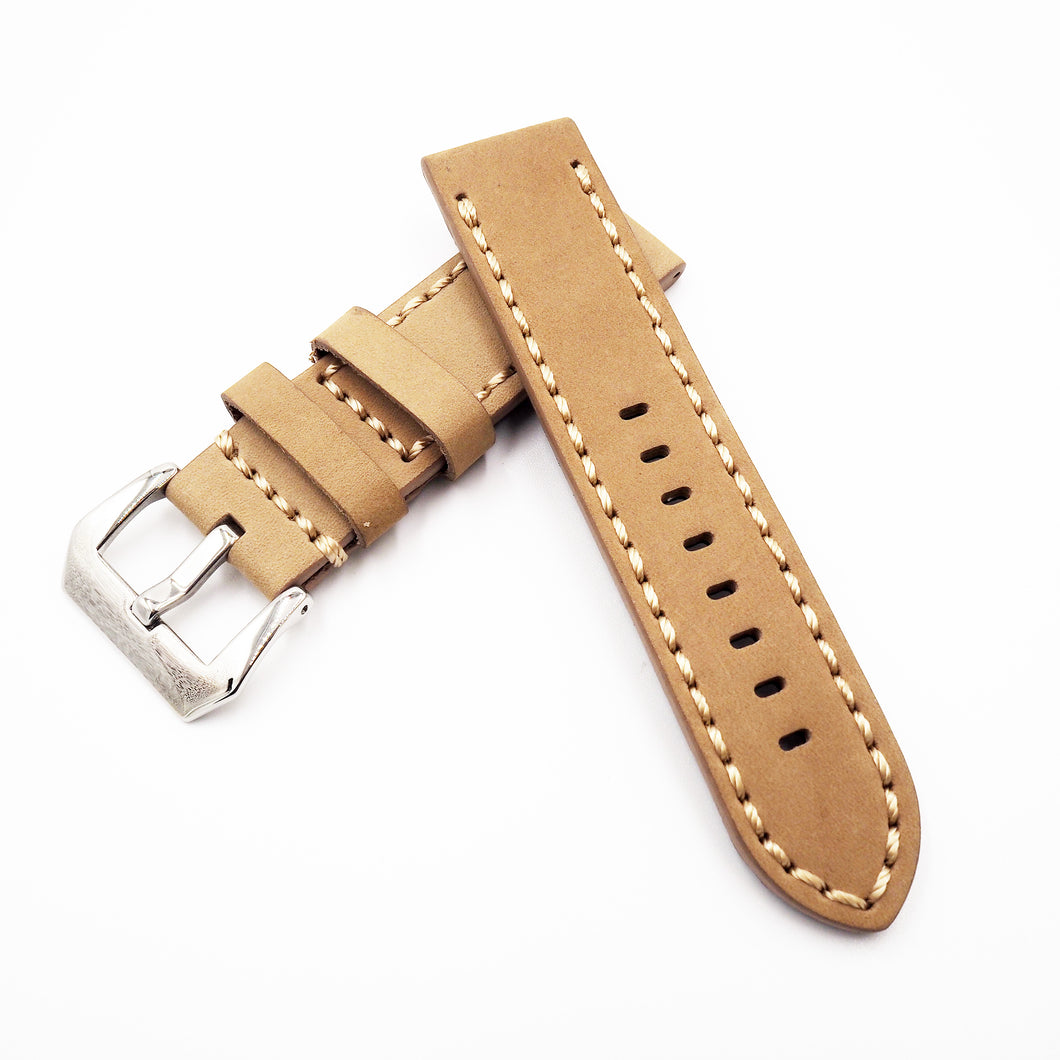 24mm Khaki Calf Leather Watch Strap w/ Buckle For Panerai - Strapholic_錶帶工房, Rolex, IWC, Panerai, AP, Cartier, Tudor, Omega, Watch_Bands