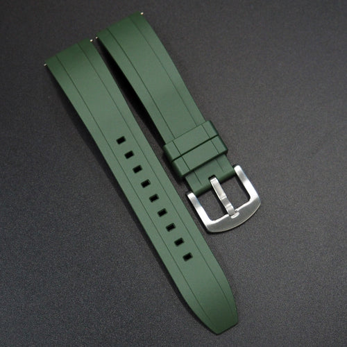 Green Straight End Rubber Watch Strap w/ Buckle & Quick Release Spring Bars - Strapholic_錶帶工房, Rolex, IWC, Panerai, AP, Cartier, Tudor, Omega, Watch_Bands