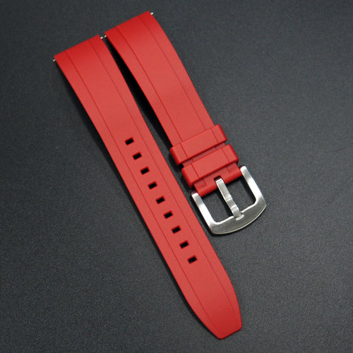 Red Straight End Rubber Watch Strap w/ Buckle & Quick Release Spring Bars - Strapholic_錶帶工房, Rolex, IWC, Panerai, AP, Cartier, Tudor, Omega, Watch_Bands