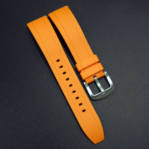 Orange Straight End Rubber Watch Strap w/ Buckle & Quick Release Spring Bars - Strapholic_錶帶工房, Rolex, IWC, Panerai, AP, Cartier, Tudor, Omega, Watch_Bands