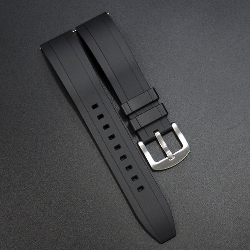 Black Straight End Rubber Watch Strap w/ Buckle & Quick Release Spring Bars - Strapholic_錶帶工房, Rolex, IWC, Panerai, AP, Cartier, Tudor, Omega, Watch_Bands