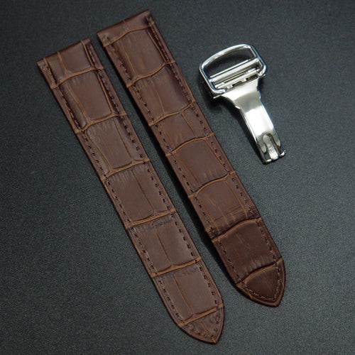 Cartier Style Brown Alligator-Embossed Calf Leather Watch Strap w/ Deployment Clasp - Strapholic_錶帶工房, Rolex, IWC, Panerai, AP, Cartier, Tudor, Omega, Watch_Bands