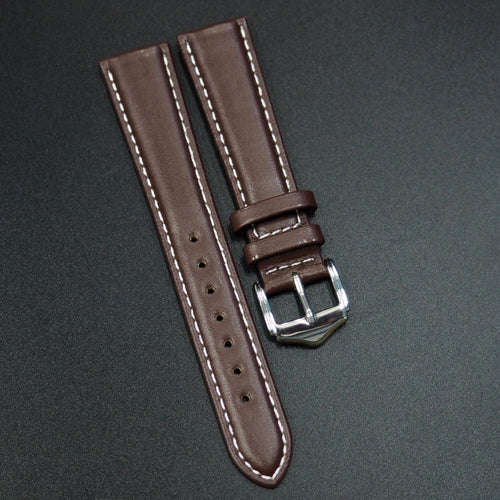 Brown Calf Leather Leather Watch Strap w/ White Stitching - Strapconcept_錶帶工房, Rolex_Leather, IWC_Strap, Panerai_Strap, AP_Rubber, Cartier_Leather, Tudor_Nato, Omega_Rubber, Watch_Straps