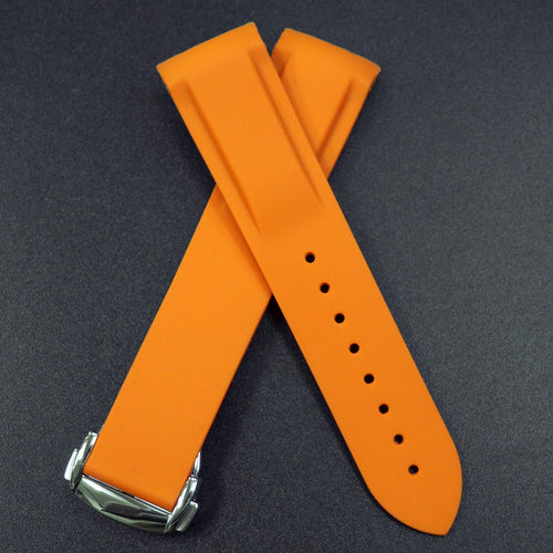 Orange Rubber Watch Strap w/ Curved Ends For Omega Seamaster Planet Ocean - Strapholic_錶帶工房, Rolex, IWC, Panerai, AP, Cartier, Tudor, Omega, Watch_Bands