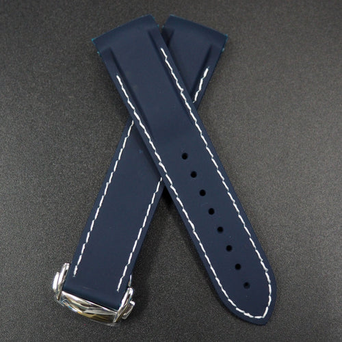 Navy Blue Rubber / White Stitching Watch Strap w/ Curved Ends For Omega Seamaster Planet Ocean - Strapholic_錶帶工房, Rolex, IWC, Panerai, AP, Cartier, Tudor, Omega, Watch_Bands