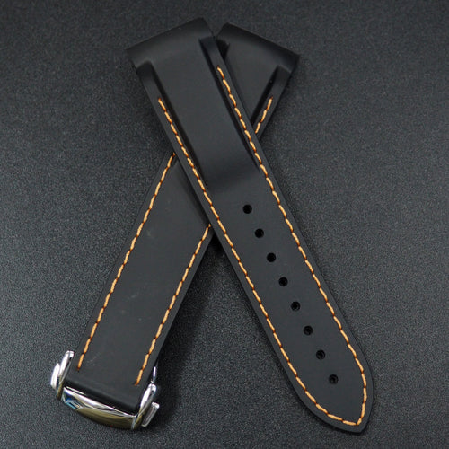 Black Rubber / Orange Stitching Watch Strap w/ Curved Ends For Omega Seamaster Planet Ocean - Strapholic_錶帶工房, Rolex, IWC, Panerai, AP, Cartier, Tudor, Omega, Watch_Bands
