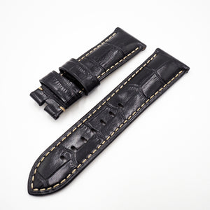 24mm Black Alligator-Embossed Calf Leather Watch Strap w/ Deployment Buckle For Panerai - Strapholic_錶帶工房, Rolex, IWC, Panerai, AP, Cartier, Tudor, Omega, Watch_Bands