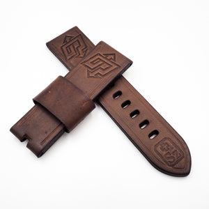 24mm Brown Flash Embossed Vintage Style Calf Leather Watch Strap w/ Buckle For Panerai - Strapholic_錶帶工房, Rolex, IWC, Panerai, AP, Cartier, Tudor, Omega, Watch_Bands