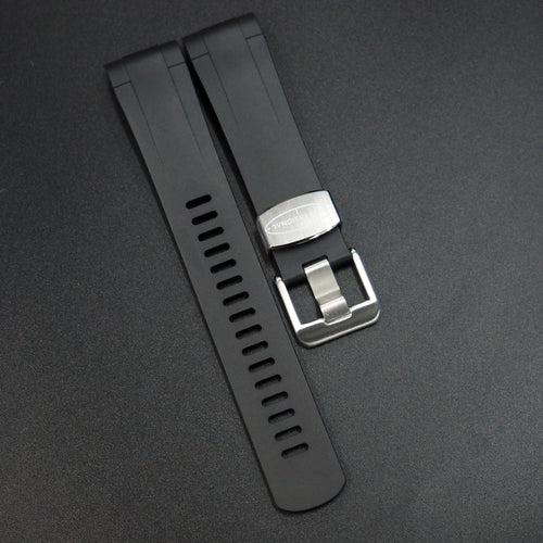 Black Premium Vulcanised Rubber Watch Strap w/ Curved Ends - Strapconcept_錶帶工房, Rolex_Leather, IWC_Strap, Panerai_Strap, AP_Rubber, Cartier_Leather, Tudor_Nato, Omega_Rubber, Watch_Straps