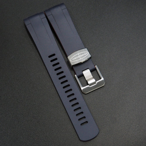 Navy Blue / Red Premium Vulcanised Rubber Watch Strap w/ Curved Ends - Strapconcept_錶帶工房, Rolex_Leather, IWC_Strap, Panerai_Strap, AP_Rubber, Cartier_Leather, Tudor_Nato, Omega_Rubber, Watch_Straps