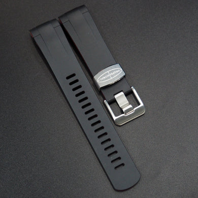 Black / Red Premium Vulcanised Rubber Watch Strap w/ Curved Ends For Tudor Black Bay 41mm Series - Strapholic_錶帶工房, Rolex, IWC, Panerai, AP, Cartier, Tudor, Omega, Watch_Bands
