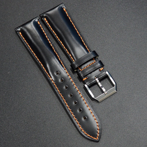 Black Cordovan Leather Watch Strap w/ Orange Stitching - Strapconcept_錶帶工房, Rolex_Leather, IWC_Strap, Panerai_Strap, AP_Rubber, Cartier_Leather, Tudor_Nato, Omega_Rubber, Watch_Straps