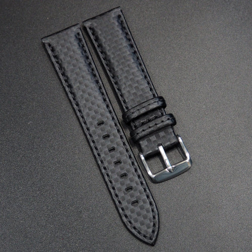 Black Carbon Fiber Watch Strap - Strapconcept_錶帶工房, Rolex_Leather, IWC_Strap, Panerai_Strap, AP_Rubber, Cartier_Leather, Tudor_Nato, Omega_Rubber, Watch_Straps