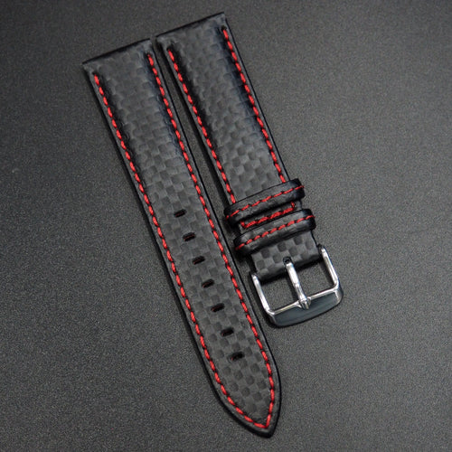 Black Carbon Fiber / Red Stitching Watch Strap - Strapconcept_錶帶工房, Rolex_Leather, IWC_Strap, Panerai_Strap, AP_Rubber, Cartier_Leather, Tudor_Nato, Omega_Rubber, Watch_Straps