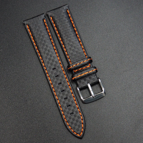 Black Carbon Fiber / Orange Stitching Watch Strap - Strapconcept_錶帶工房, Rolex_Leather, IWC_Strap, Panerai_Strap, AP_Rubber, Cartier_Leather, Tudor_Nato, Omega_Rubber, Watch_Straps