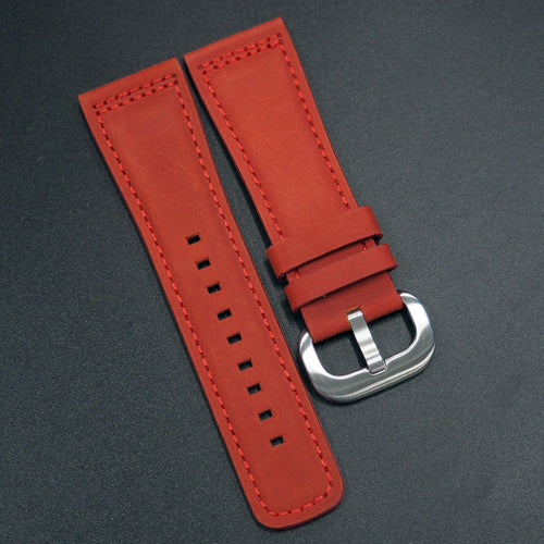 Red Calf Leather Watch Strap - Strapconcept_錶帶工房, Rolex_Leather, IWC_Strap, Panerai_Strap, AP_Rubber, Cartier_Leather, Tudor_Nato, Omega_Rubber, Watch_Straps