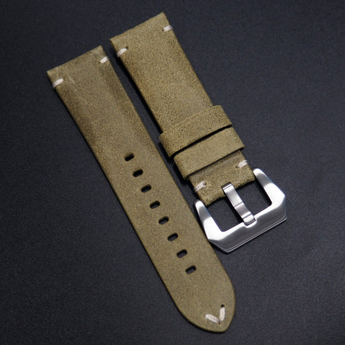 Vintage Style Nostalgic Green Italy Calf Leather Handmade Watch Strap - Strapholic_錶帶工房, Rolex, IWC, Panerai, AP, Cartier, Tudor, Omega, Watch_Bands