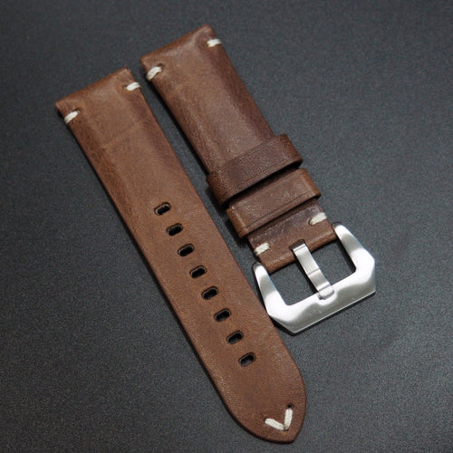 Vintage Style Coffee Brown Italy Calf Leather Handmade Watch Strap - Strapholic_錶帶工房, Rolex, IWC, Panerai, AP, Cartier, Tudor, Omega, Watch_Bands