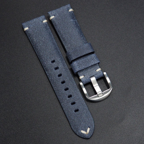 Vintage Style Nostalgic Blue Italy Calf Leather Handmade Watch Strap - Strapholic_錶帶工房, Rolex, IWC, Panerai, AP, Cartier, Tudor, Omega, Watch_Bands