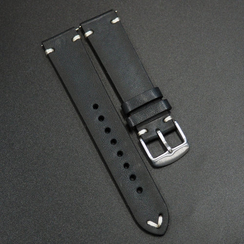 Vintage Style Italian Black Calf Leather Watch Strap w/ Quick Release Spring Bars - Strapholic_錶帶工房, Rolex, IWC, Panerai, AP, Cartier, Tudor, Omega, Watch_Bands