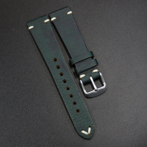 Vintage Style Italian Dark Green Calf Leather Watch Strap - Strapholic_錶帶工房, Rolex, IWC, Panerai, AP, Cartier, Tudor, Omega, Watch_Bands