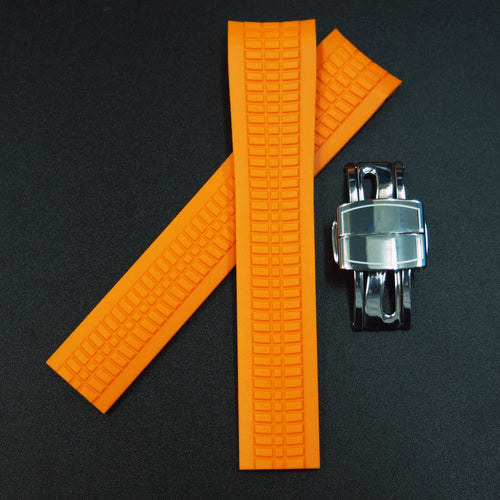 Premium Orange Rubber Watch Strap w/ Deployment Clasp For Patek Philippe Aquanaut 5167 - Strapholic_錶帶工房, Rolex, IWC, Panerai, AP, Cartier, Tudor, Omega, Watch_Bands