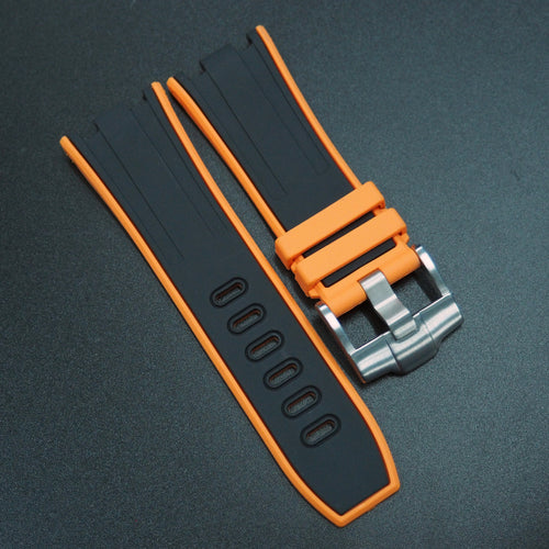 Orange / Black Rubber Watch Strap With Buckle For Audemars Piguet Royal Oak Offshore - Strapholic_錶帶工房, Rolex, IWC, Panerai, AP, Cartier, Tudor, Omega, Watch_Bands