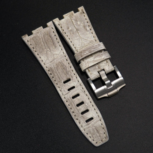 Premium Vintage White Alligator Leather Watch Strap - Strapconcept_錶帶工房, Rolex_Leather, IWC_Strap, Panerai_Strap, AP_Rubber, Cartier_Leather, Tudor_Nato, Omega_Rubber, Watch_Straps