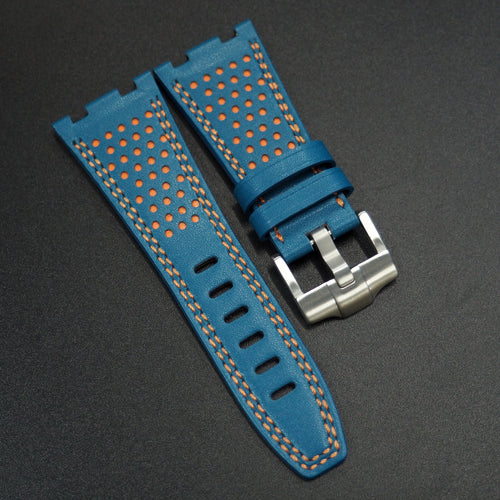 Blue / Orange Calf Leather Watch Strap - Strapconcept_錶帶工房, Rolex_Leather, IWC_Strap, Panerai_Strap, AP_Rubber, Cartier_Leather, Tudor_Nato, Omega_Rubber, Watch_Straps