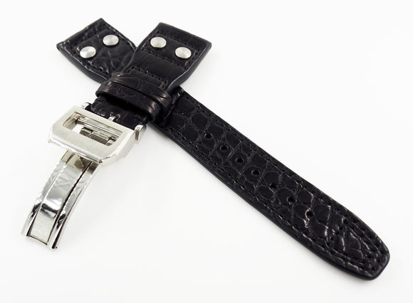 Black IWC Aviation Alligator Leather Watch Strap w/ Deployment Clasp - Strapholic_錶帶工房, Rolex, IWC, Panerai, AP, Cartier, Tudor, Omega, Watch_Bands