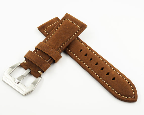 Panerai Style Light Brown Calf Leather Watch Strap w/ Buckle - Strapholic_錶帶工房, Rolex, IWC, Panerai, AP, Cartier, Tudor, Omega, Watch_Bands