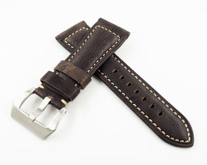 Panerai Style Ash Gray Calf Leather Watch Strap w/ Buckle - Strapholic_錶帶工房, Rolex, IWC, Panerai, AP, Cartier, Tudor, Omega, Watch_Bands