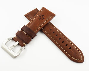Panerai Style Brown Flower-Embossed Calf Leather Watch Strap w/ Buckle - Strapholic_錶帶工房, Rolex, IWC, Panerai, AP, Cartier, Tudor, Omega, Watch_Bands