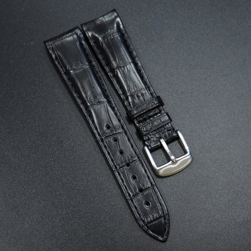 Black Premium Alligator Leather Watch Strap With Curved Ends - Strapconcept_錶帶工房, Rolex_Leather, IWC_Strap, Panerai_Strap, AP_Rubber, Cartier_Leather, Tudor_Nato, Omega_Rubber, Watch_Straps