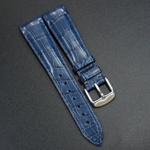 Navy Blue Premium Alligator Leather Watch Strap With Curved Ends - Strapconcept_錶帶工房, Rolex_Leather, IWC_Strap, Panerai_Strap, AP_Rubber, Cartier_Leather, Tudor_Nato, Omega_Rubber, Watch_Straps
