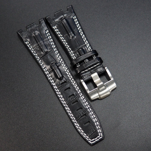 Black Alligator-Embossed Calf Leather Double White Stitching Watch Strap - Strapconcept_錶帶工房, Rolex_Leather, IWC_Strap, Panerai_Strap, AP_Rubber, Cartier_Leather, Tudor_Nato, Omega_Rubber, Watch_Straps