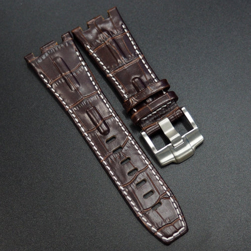 Brown Alligator-Embossed Calf Leather White Stitching Watch Strap - Strapconcept_錶帶工房, Rolex_Leather, IWC_Strap, Panerai_Strap, AP_Rubber, Cartier_Leather, Tudor_Nato, Omega_Rubber, Watch_Straps